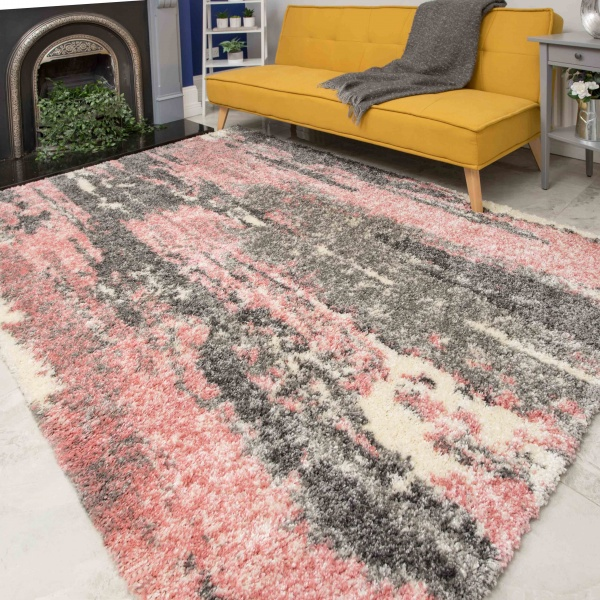 Pink Grey Distressed Mottled Shaggy Living Room Rug - Murano
