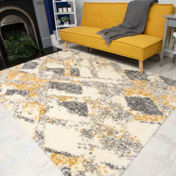 Abstract Yellow Mottled Shaggy Living Room Rug - Murano