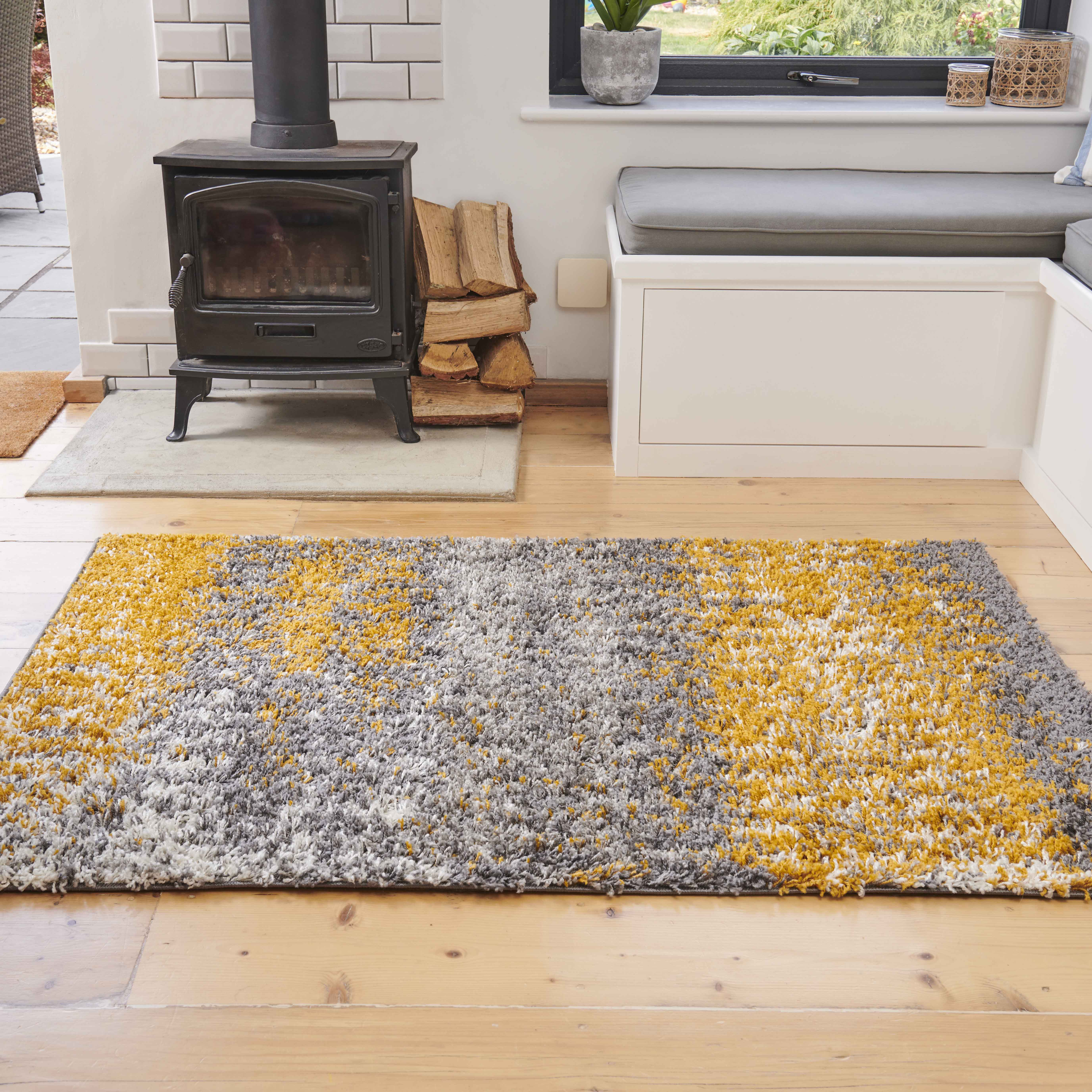 Ochre Distressed Textured Shaggy Rug - Florence