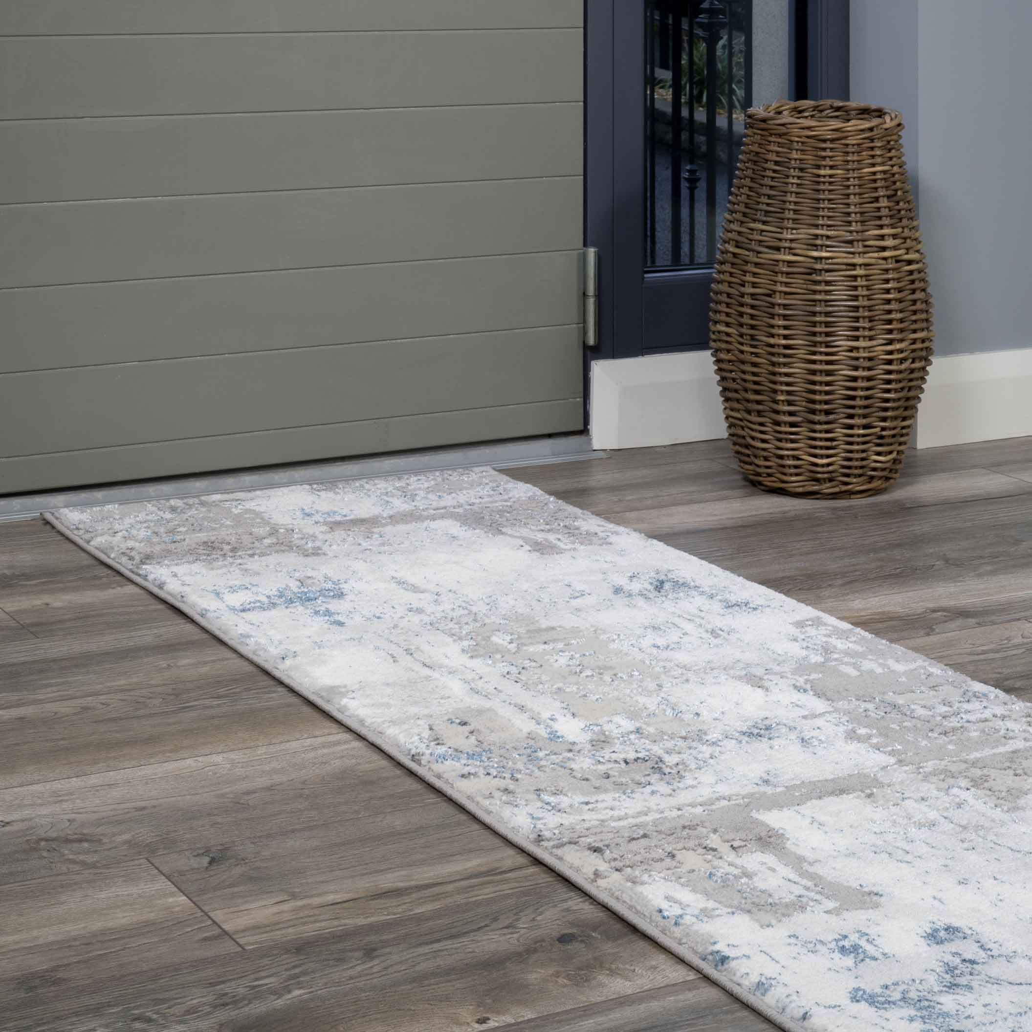 Modern Blue Abstract Distressed Hall Runner Rugs - Hatton