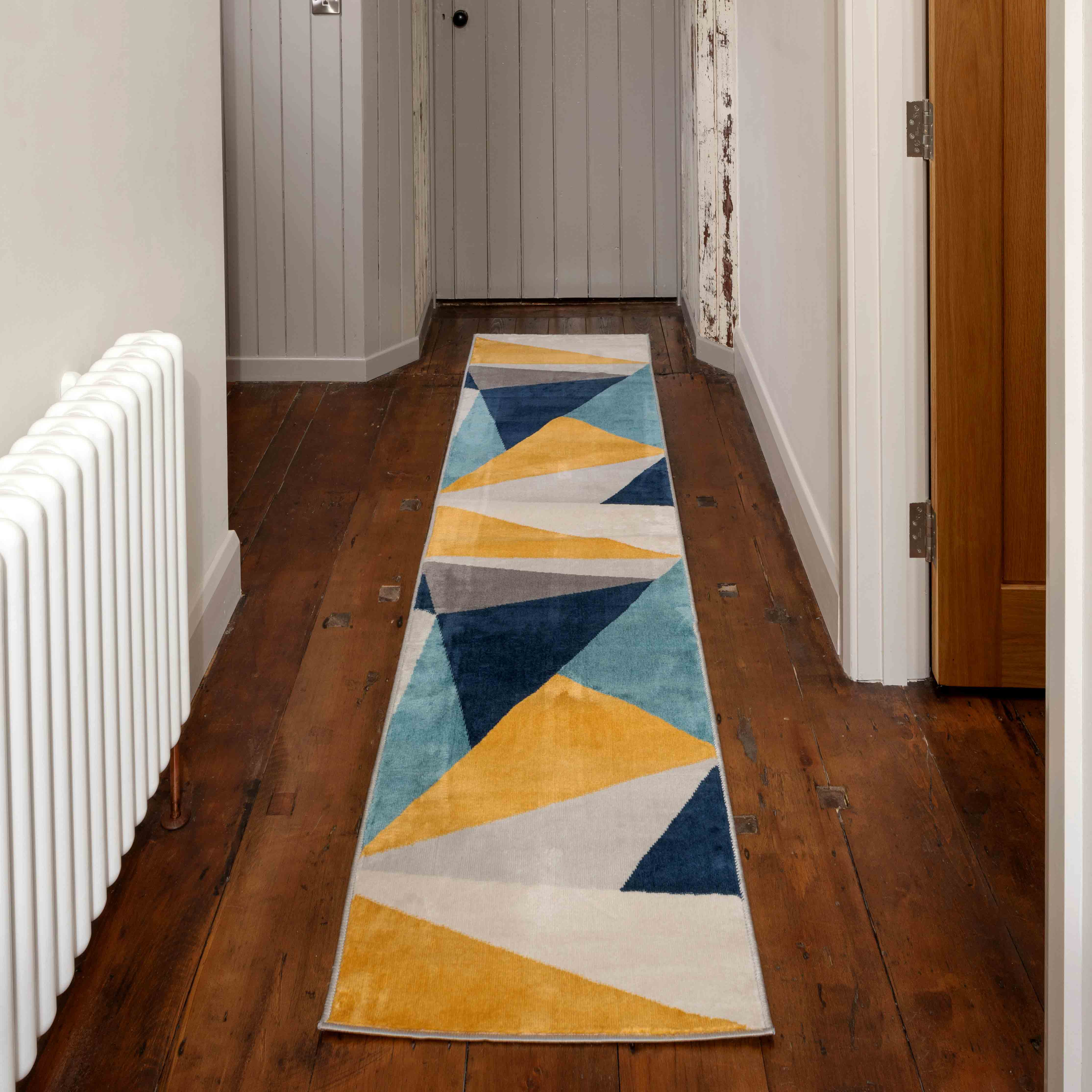Blue Yellow Pastel Abstract Large Hall Runner Rugs - Oscar