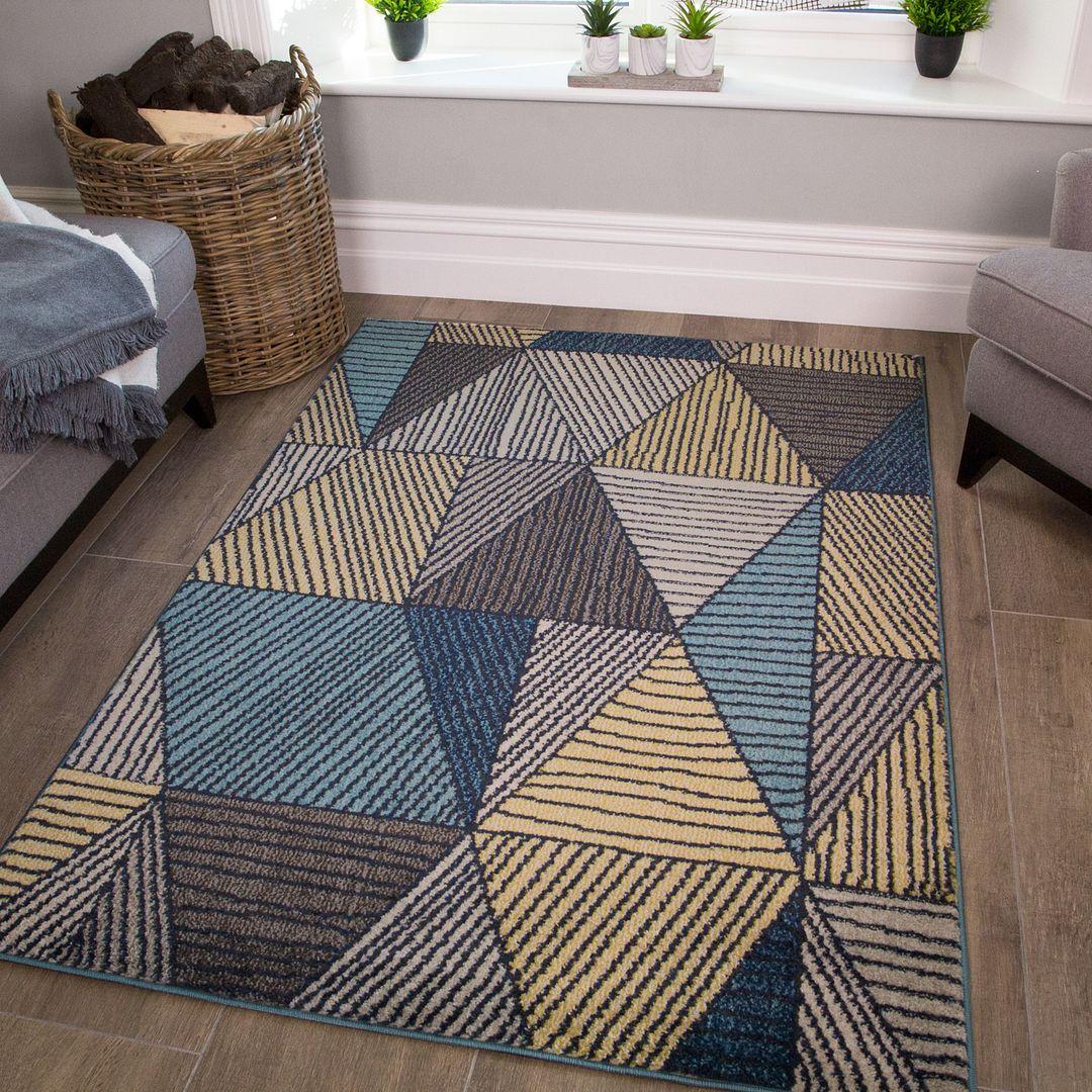 Geometric Ochre Living Room Rug - Vivid | Kukoon Rugs