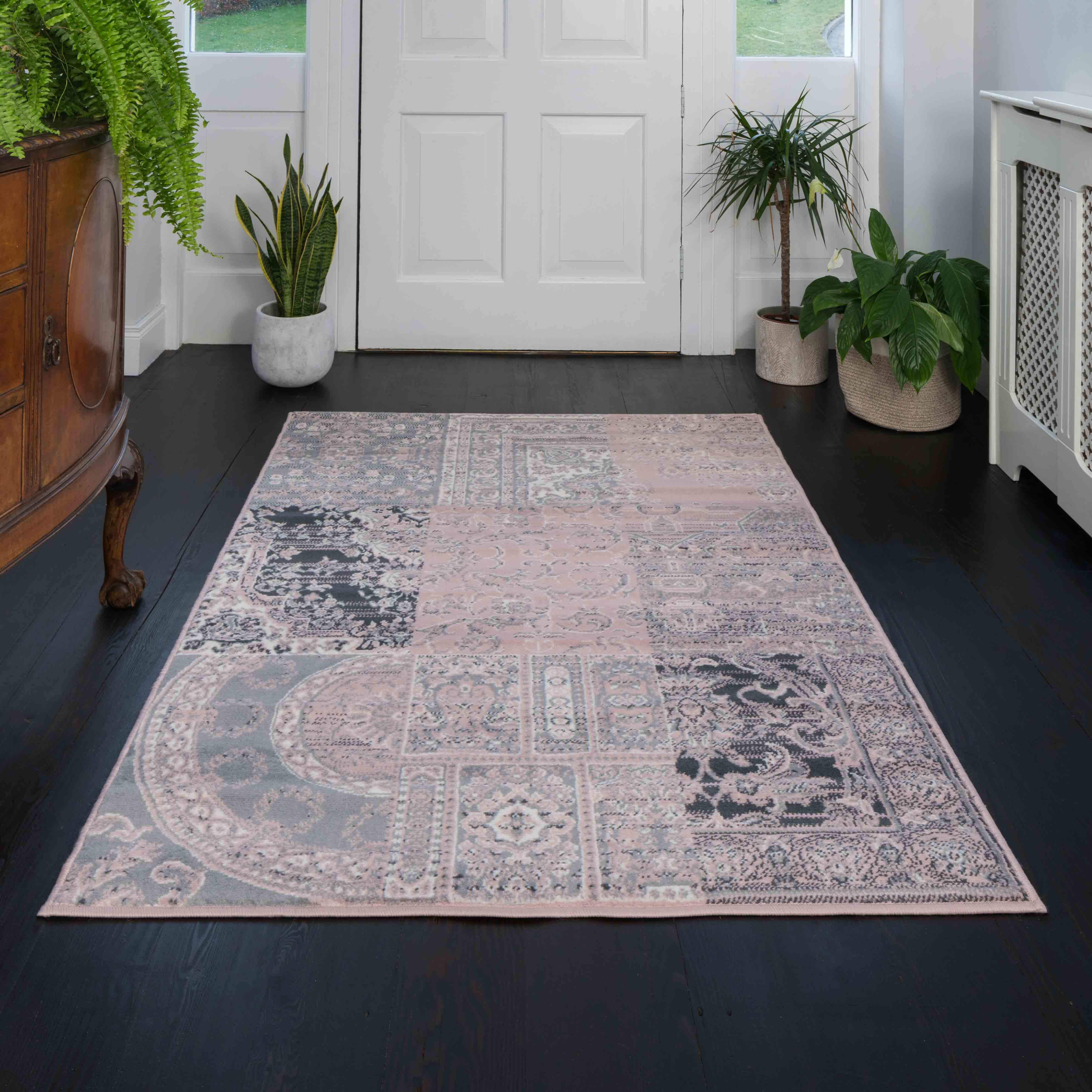 Pink Grey Traditional Patchwork Living Room Rug - Milan