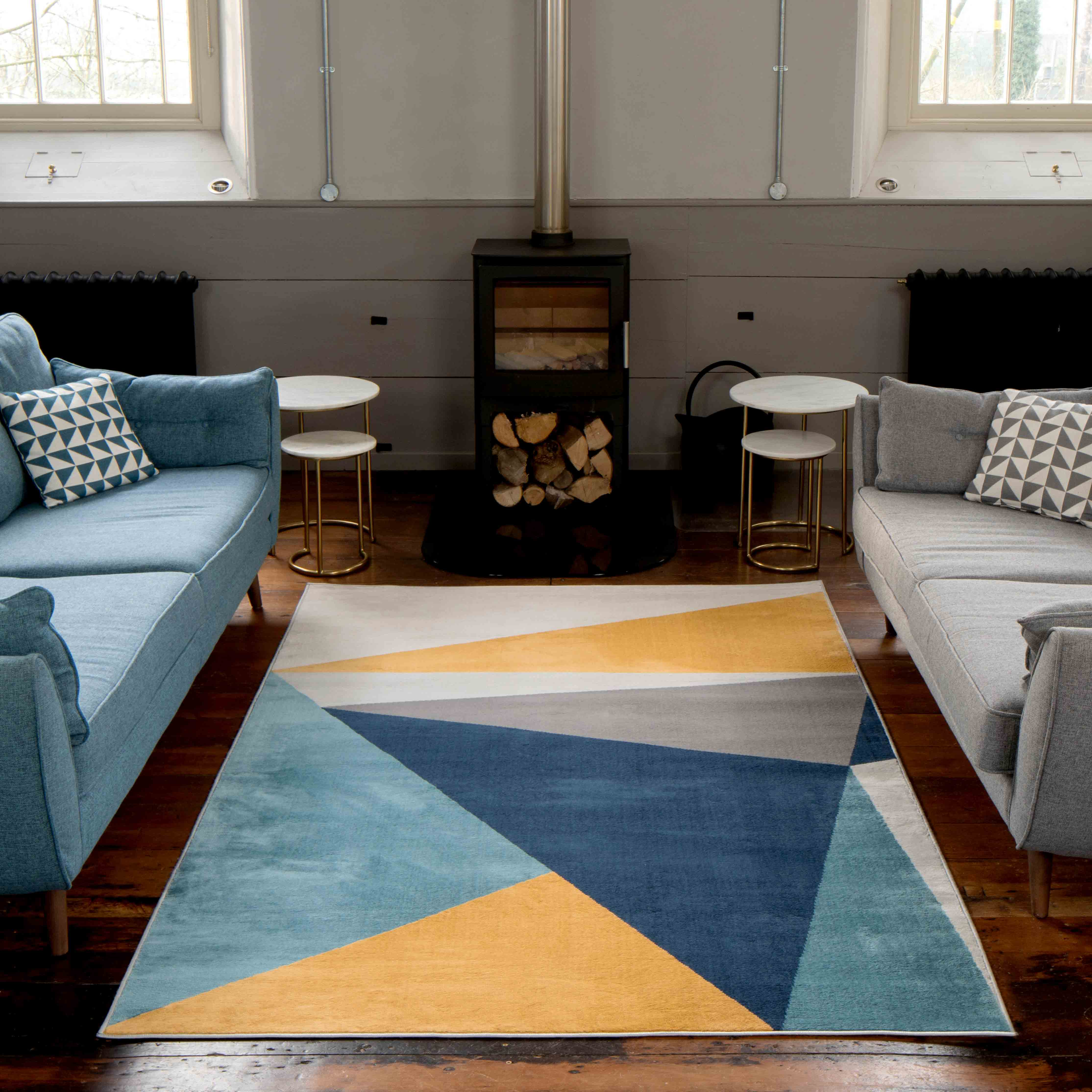 Blue Yellow Pastel Abstract Large Living Room Rugs - Oscar