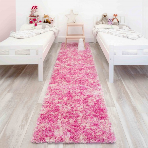 Baby Pink Mottled Shaggy Hall Runner Rug - Murano