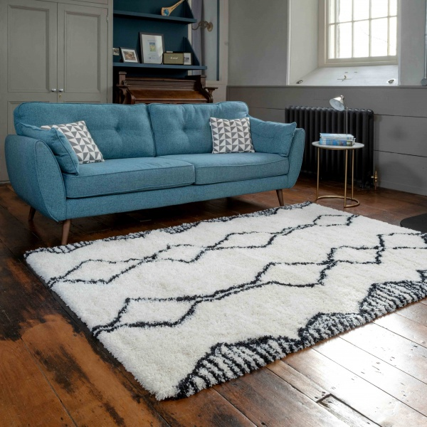 Soft Cosy Berber Moroccan Tribal Shaggy Living Room Rugs - Nivala
