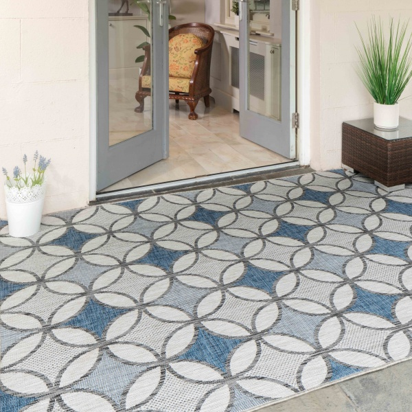 Navy Blue Retro Style Weatherproof Outdoor Garden Patio Rug - Florida
