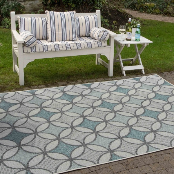 Teal Blue Retro Style Weatherproof Outdoor Garden Patio Rug - Florida