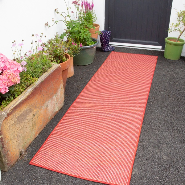 Red Mottled Indoor | Outdoor Runner Rug - Patio