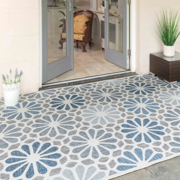Blue Floral Print Weatherproof Outdoor Garden Patio Rug - Florida