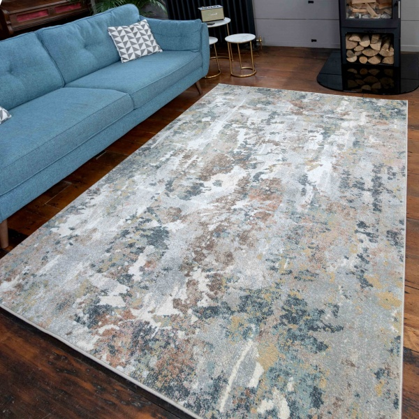 Soft Modern Blue Grey Painted Canvas Effect Rugs - Riviera