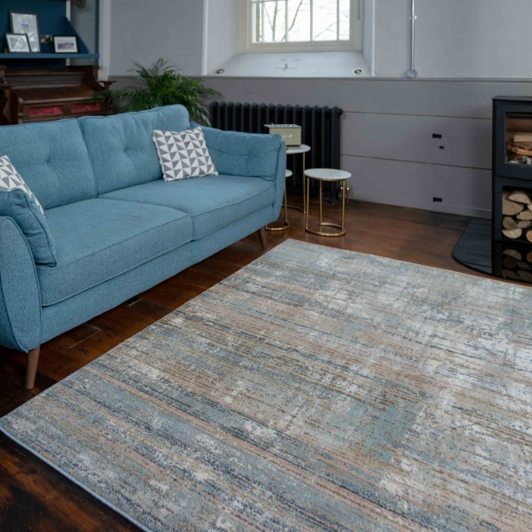 Soft Modern Blue Distressed Scratched Effect Rugs - Riviera