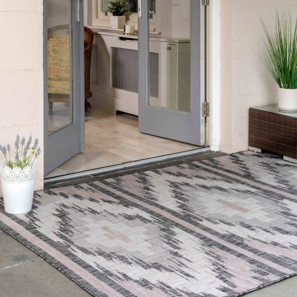 Pink Blush Aztec Style Weatherproof Outdoor Garden Decking Rug - Florida