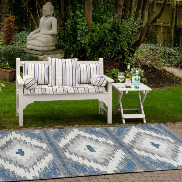 Teal Blue Retro Aztec Weatherproof Outdoor Garden Patio Rug - Florida