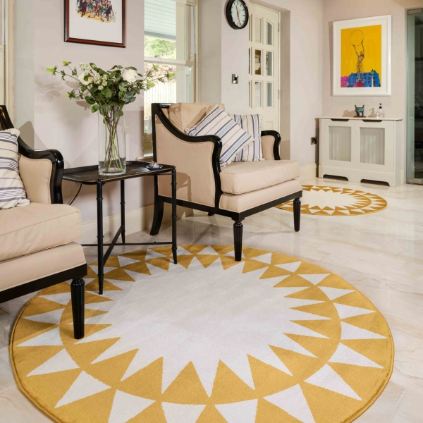 Bright Yellow Sunburst Round Circle Living Room Rug - Mexicana