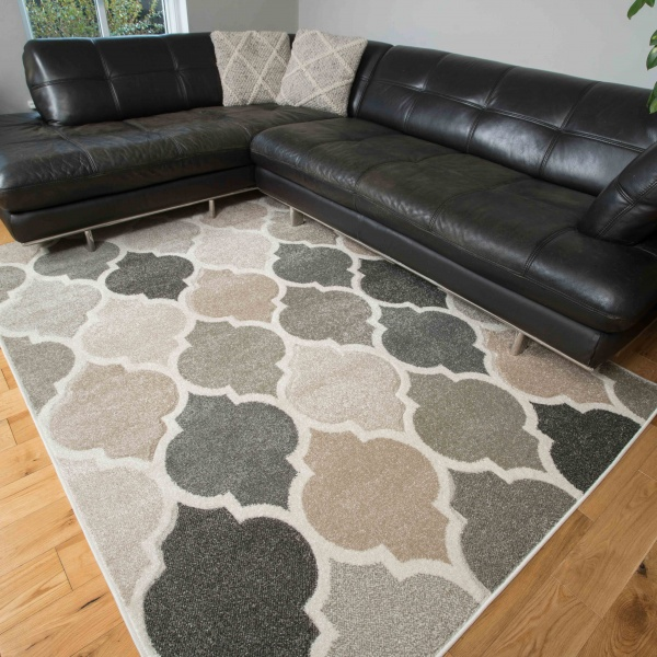 Soft Moroccan Tiled Pattern Natural Beige Rugs - Westland
