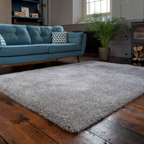 Deluxe Thick Soft Silver Grey Shaggy Living Room Rug - Whistler