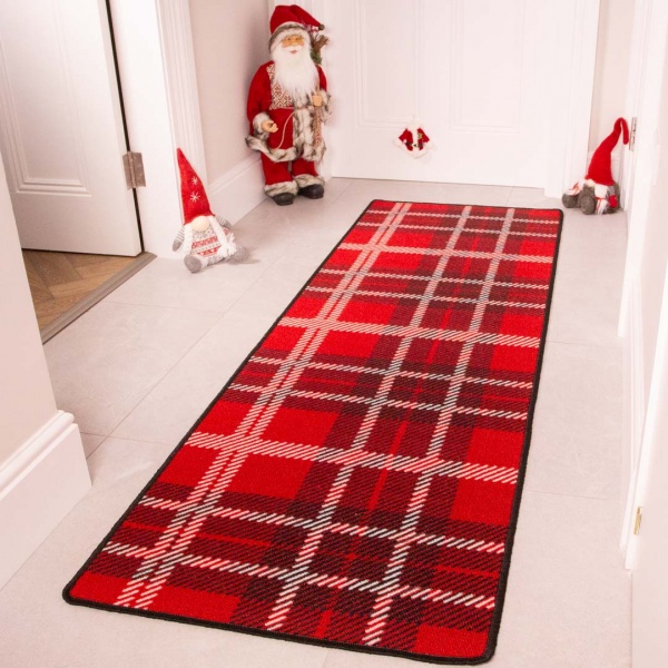 Red Tartan Christmas Decoration Hall Runner Mat - Luna