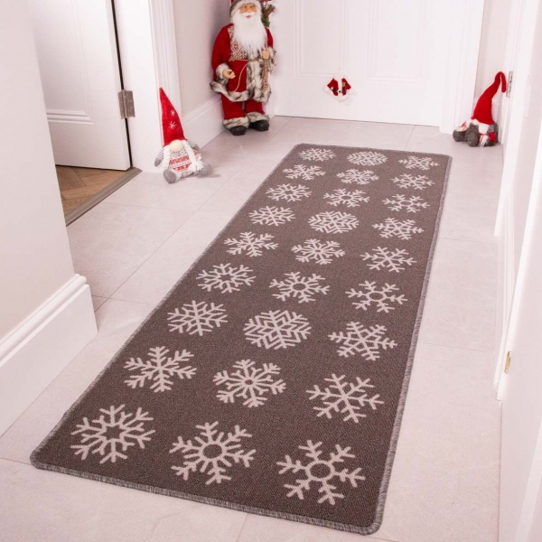 Grey Snowflake Christmas Decoration Hall Runner Mat - Luna